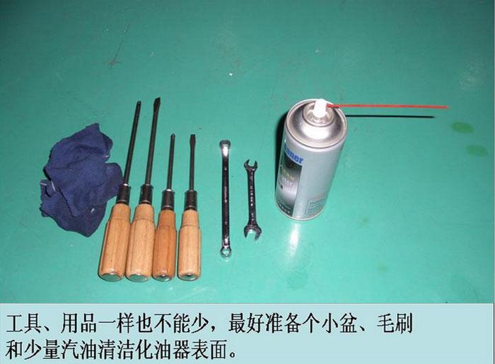 前期准备工具,抹布、螺丝刀、扳手、化油器清洗剂,如上图所示